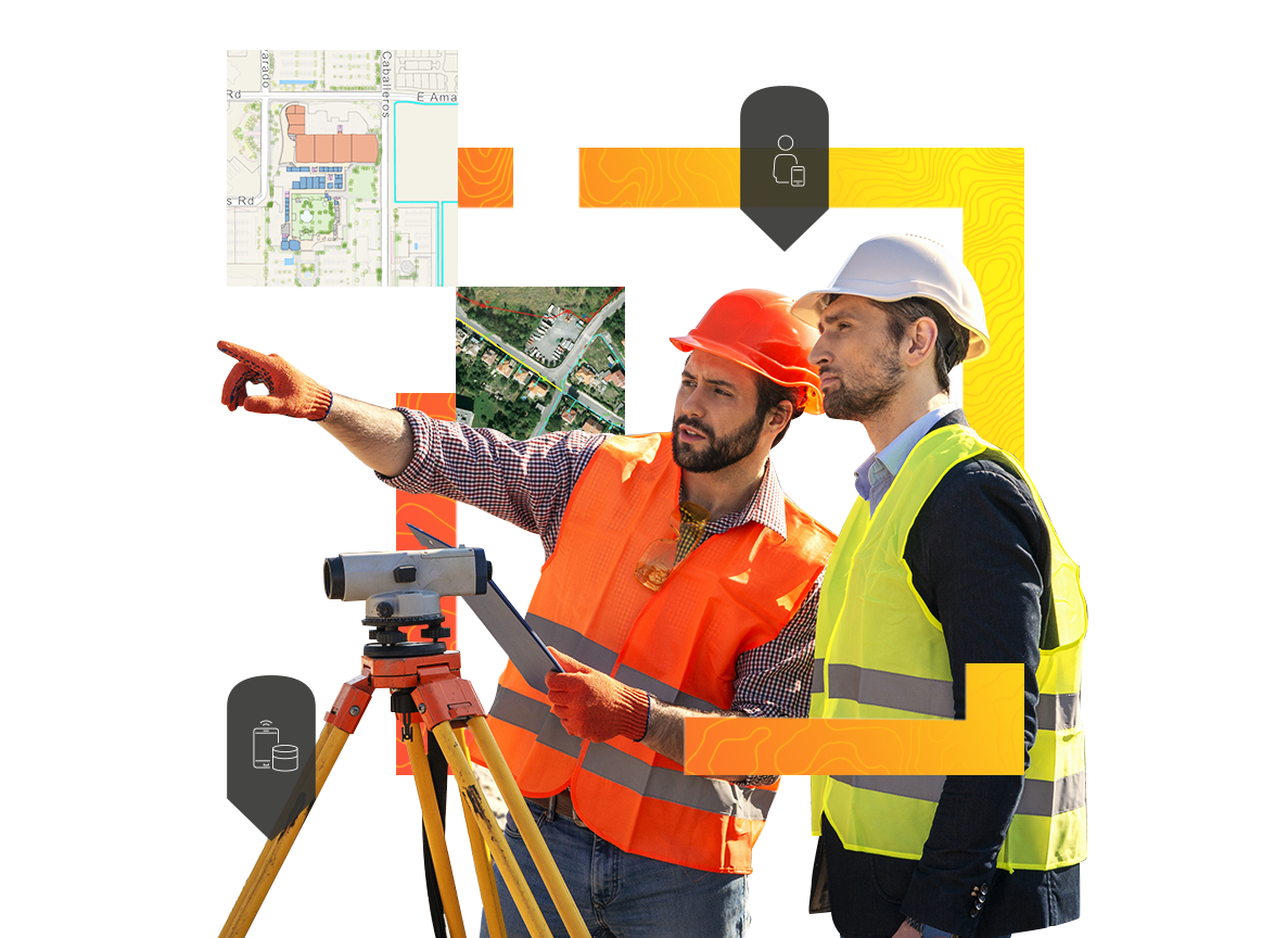 Two men using surveying equipment to gather data