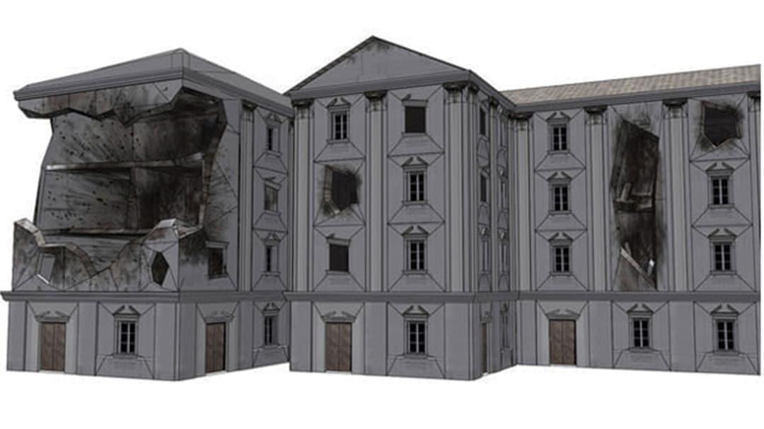 Three post apocalyptic buildings showing explosion damage
