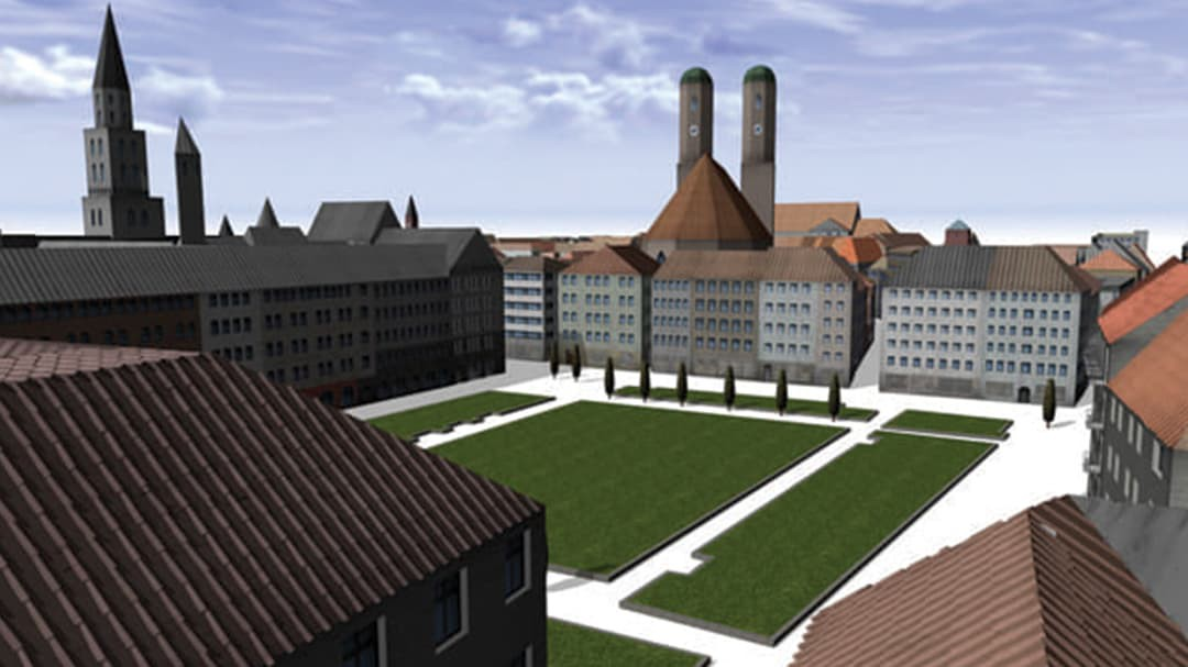 Aerial view of CityEngine rendering of building reconstruction in Munich with a closeup of courtyard.