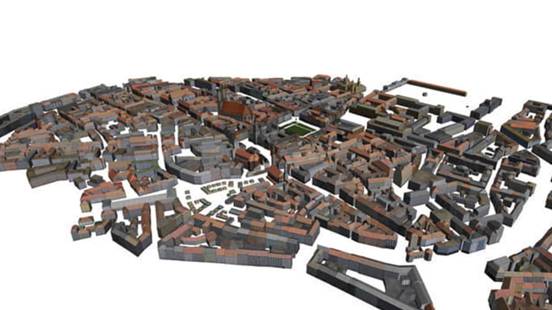 Panned out view of entire city of Munich from CityEngine software