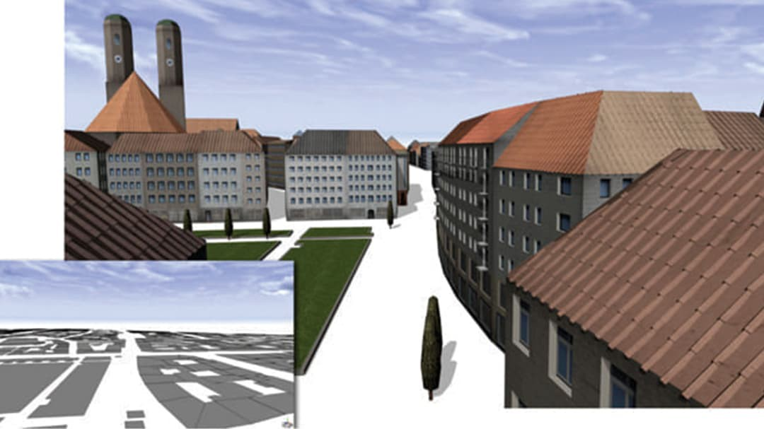 3D view of illustrated city from street using CityEngine software