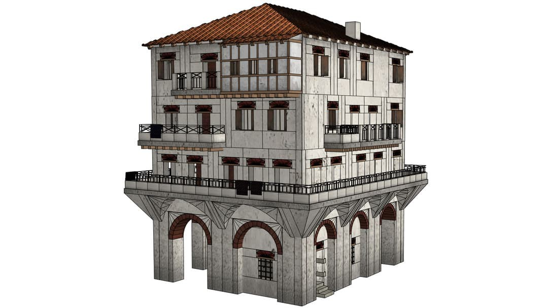 Illustration of domestic ancient Roman building on its own with white background