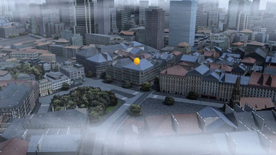 Foggy cityscape using CityEngine with a yellow balloon floating in the distance